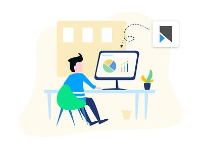 Illustration for Vookmark [ 2 ] - Video Bookmarking Service promo ui ux eco vookmark desk illustration workplace