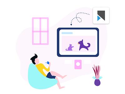 Illustration for Vookmark [ 3 ] - Video Bookmarking Service chill illustrations ux ui vookmark netflix home