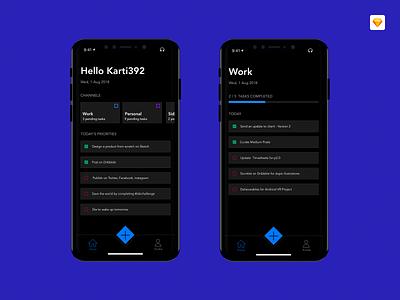 Minimal To-Do App Concept minimal design iphone x time management dark mode to-do slick ios tasks ux ui
