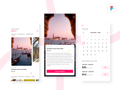 Travel app for Curated Experiences card layout experience simple android ios minimal ux ui travel