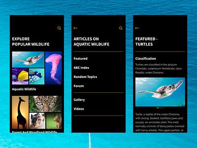 Wildlife Encyclopedia App - Complex Reduction UX complex reduction dark mode wildlife encyclopedia interface ux ui aquatic minimal karti392