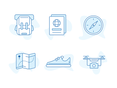 Travel Icons compass drone passport custom interface shoes map ux ui travel icons