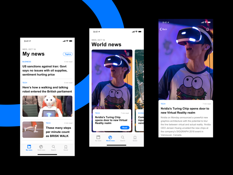 News App Exploration Concept - Sketch Freebie trending feed nfnlabs blue inspiration card layout news app vector minimal ios ux karti392 interface ui