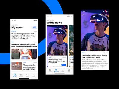 News App Exploration Concept - Sketch Freebie trending feed nfnlabs blue inspiration card layout news app vector minimal ios ux karti392 interface ui