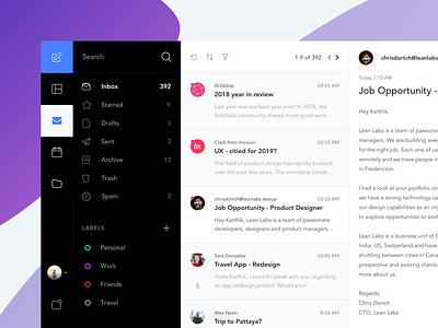 Mail Client App Exploration inspiration design mail client email desktop minimal karti392 interface ux ui