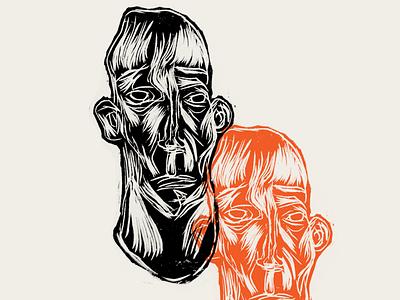 Woodcut xilogravura africa face woodcut