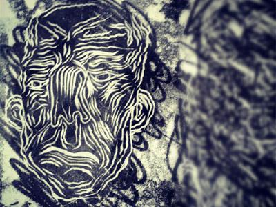 woodcut woodcut wood illustration art black and white face expressionism bw