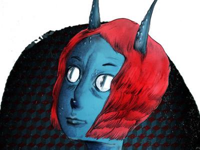 Alien alien et extrarrestrial illustration watercolor photoshop pencil blue