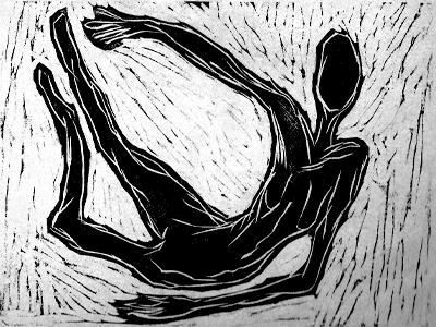 Woodcut illustration black and white bw expressionism face art wood woodcut woman fall