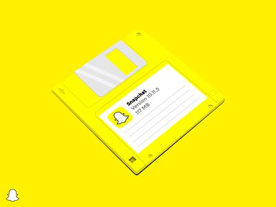 Snapchat® update available popular dribbble brand logo brandnew concept floppydisk snapchat vector design illustration