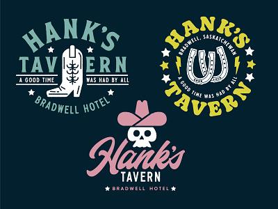 Hank's Tavern saskatchewan bar tavern graphic design apparel shirts skulls cowboy boots cowboy illustration vector design identity branding brand logo