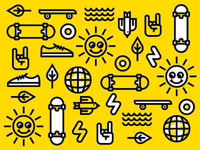 Skate for Sustainability icon set icon illustration alberta edmonton yellow black identity branding brand logo sustainability skate
