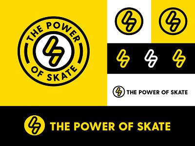 The Power Of Skate lightning bolt skateboard skate alberta edmonton yellow black design identity branding brand logo