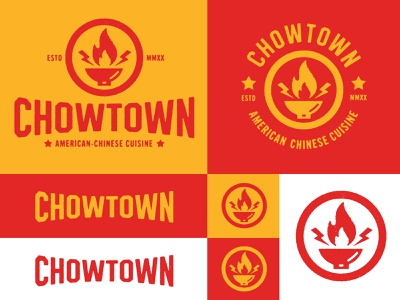 Chowtown icon fire wok chinese food red yellow design identity branding brand logo restuarant food chow