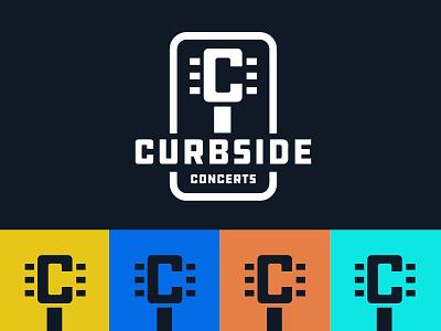 Curbside Concerts guitar live music concert alberta icon design identity branding brand logo