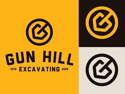Gun Hill Excavating excavation shovel edmonton alberta yellow black icon design identity branding brand logo