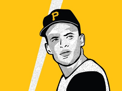 Roberto Clemente pirates bat ball roberto clemente yellow black vector illustration halftone baseball