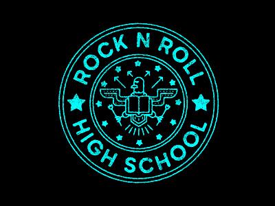 Rock n Roll High School rock n roll badge eagle graphic design vector illustration black icon design identity branding brand logo ramones
