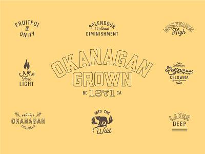 Okanagan Grown ogopogo fires bears outdoors design logos branding brown yellow okanagan bc british columbia
