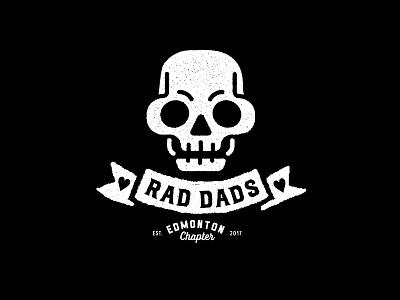 Rad Dads Logo branding brand mark logo white black rad dad banners skull rad dad