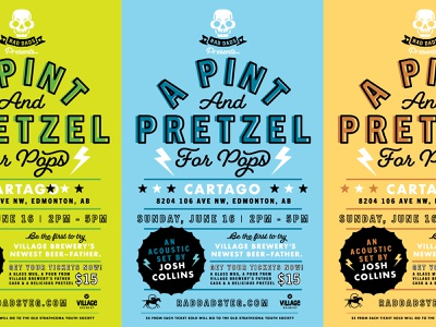 Rad Dads Pint And Pretzel Poster green yellow blue black branding type lightning bolts rad poster beer father dad