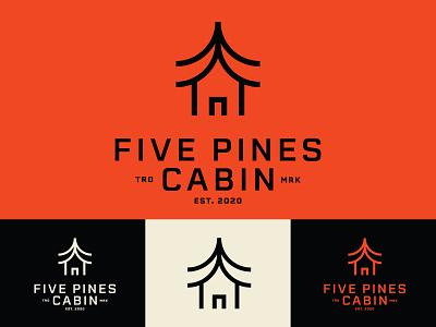 Five Pines outdoors cabin edmonton alberta identity icon branding brand logo