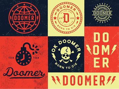 Doomer Brand yellow blue red edmonton alberta icon identity branding brand logo