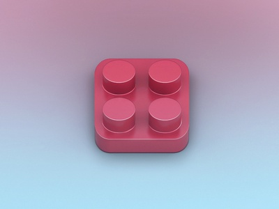Lego part icon skeumorphism modeling vizualization 3d lego icon