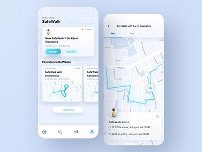 SafeWalk App maps location safe walk community vector safety security mobile branding app design ux ui sketch