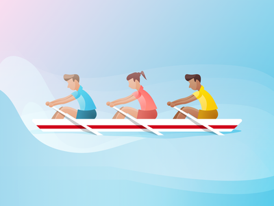 Rowing Illustration crew rowers rowing vector illustration branding design app sketch ux ui