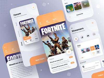 Video Game Forum App V2 fortnite product design message board forum videogames mobile branding design app ui ux sketch