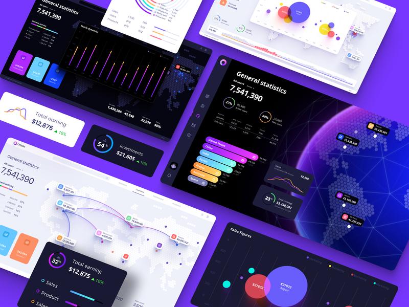 Orion UI kit - Charts templates & infographics in Figma science analytics statisctic application product uiux ui bubble chart infographic dataviz desktop web dashboard widget planet