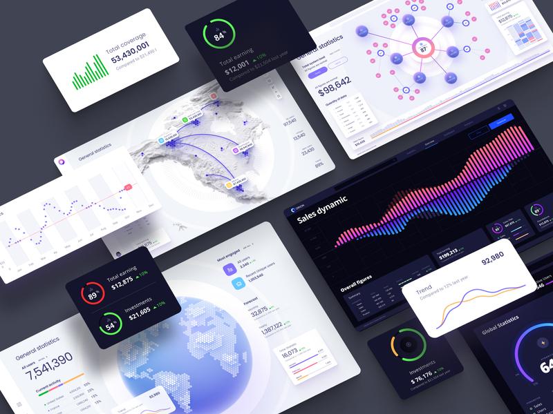 Orion UI kit - Dataviz dark ui web desktop analytics chart infographic product dataviz data vusialisation template chart