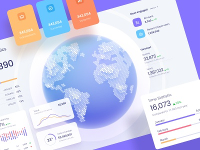 Orion UI kit - Data map visualisation ui kit desktop dataviz template infographic product data vusialisation hex planet chart widget map dashboard