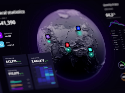 Dashboard map data visualization  template data world planet interface widgets chart analytics saas mapping product ui infographic map dataviz template dashboard