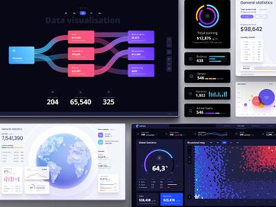 Dataviz ui kit grid snippet dark mode hexagon hex world planet circle chart dashboard app free figma template dailyui algorythn machine learning machine data science data