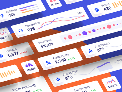Component library for dashboards and presentations widget auto-layout design system presentation analytics data desktop infographic product component saas widgets ui kit chart dataviz dashboard template