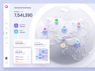 Interactive visualization of statistics on the map infographic product total summary widgets charts dataviz component library designsystem template tracking app service saas desktop mobile design app mobile location pin map