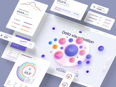 Huge UI kit for dashboards and presentations nocode mobile prediction application design library components widgets develop statistic analytic desktop service app presentation dashboard template neurosciense dataviz chart
