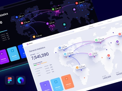 Templates in Figma to visualize data on the map application presentation design library develop analytic components statistic infographic product dataviz dashboard mapbox location maps mobile desktop chart widgets template map