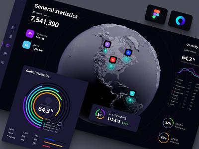 Global data on the map / Orion UI kit orion dark ui predictible analytics data local widgets infographic statistic dashboard dataviz developemn app charts dasktop space planet map global