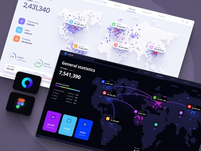 Visualization of data and graphs on the world map. Orion UI KIT ux research analytics statistic technology cloud service app code template future hex zoom pin planet desktop local location map world map