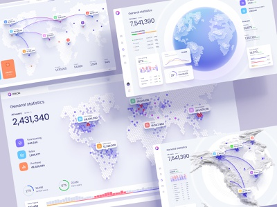 Dashboards with data visualization on the world map library design system components pin local planet 3d map hexagon mobile presentation app travel map infographic statistic chart desktop dataviz dashboard template