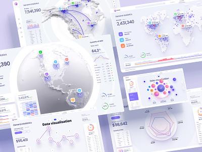 Figma library for dashboards and presentation app branding motion graphics graphic design 3d animation ui logo illustration design infographic statistic chart desktop dataviz dashboard template