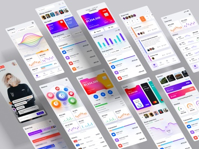 A huge set of mobile templates on financial and cryptosphere react development product service saas figma library design system components statistic video service dashboard investments