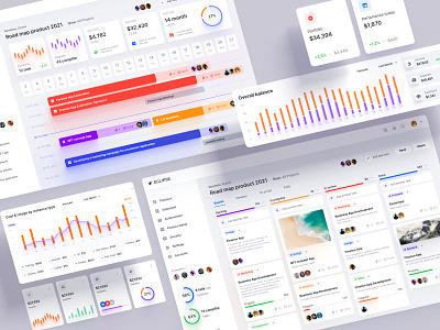 Eclipse - Figma dashboard UI kit for data design apps calendar components graphs widgets statistic chart dataviz template desktop saas service timeline road map project tasks crypto banking finance dashboard kanban
