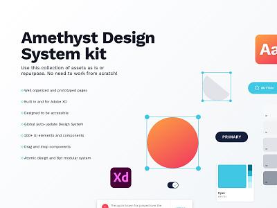 Amethyst Design  System madewithxd web design component library xd adobe system design ui design kit
