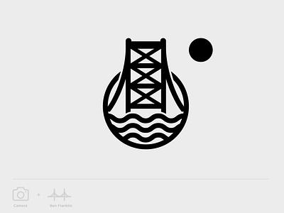 City Photography Logo branding brand symbol minimal water river geometry mark identity vector bridge ben franklin logo