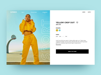 SZNED Product Page ui fashion commerce e page cart to add card product