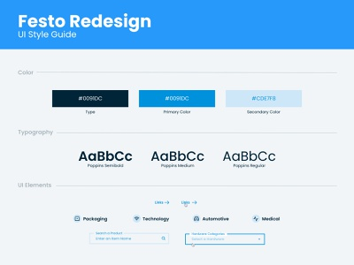 Festo UI Style Guide elements typography color modern corporate website redesign technology xd adobe guide style design ui